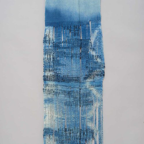 "Textile dedicated ""For the Garment Workers of Rana Plaza"" by CCA graduate Tenzin Tsomo."