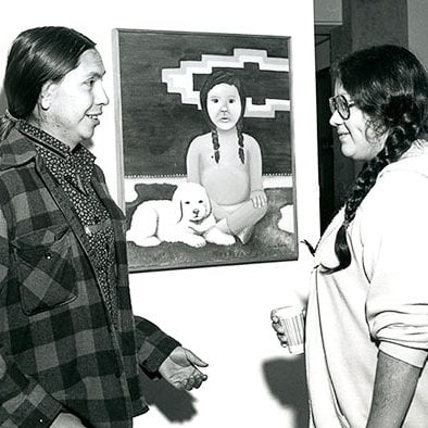 Showing work at the Native American Students Exhibition, 1978.