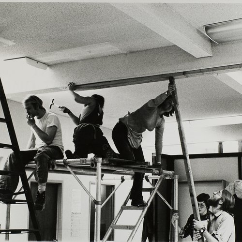 On the scaffolding in the Crafts Building course, 1975.