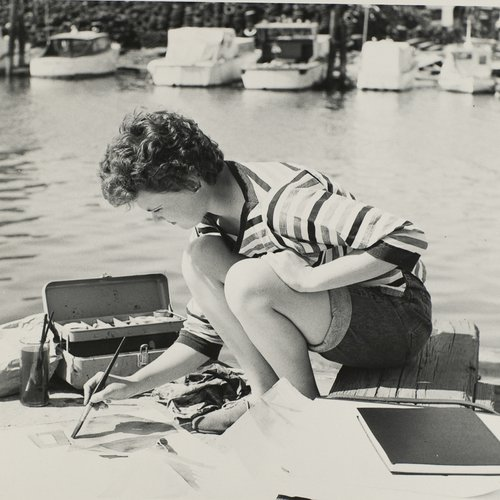 Painting at the marina, 1950.