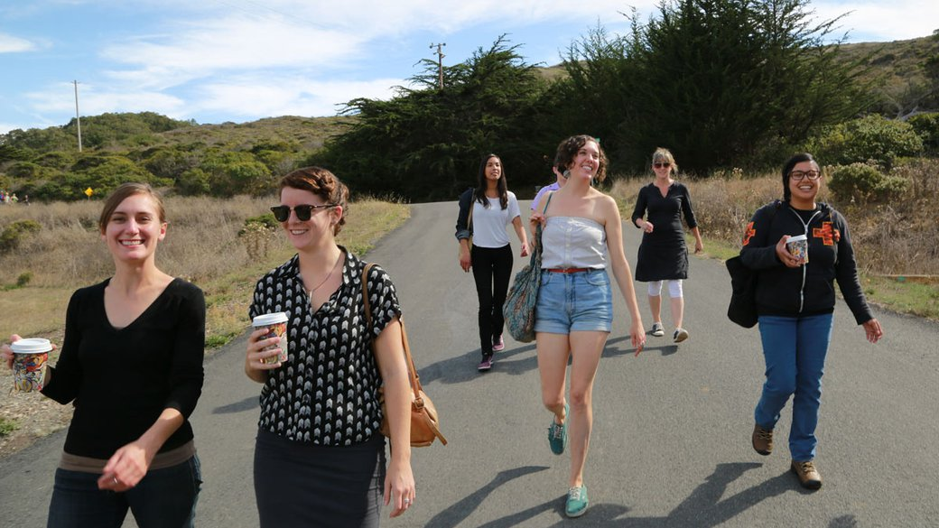 Visual and Critical studies students on Marin headlands field trip 2013