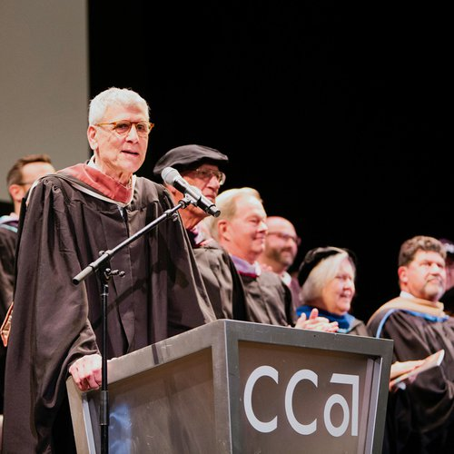 CCA President Stephen Beal addressing students at graduation.