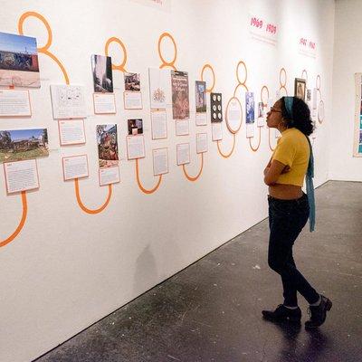 Student viewing the Diversity Studies Exhibit
