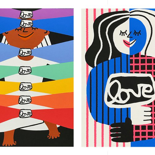 Alexandra Grant (MFA Painting + Drawing 2000), grantLOVE x Cachetejack, 2020. Suite of 4 screenprints, 16.5 x 11.7 inches each. Edition 14/100. Value: $600.