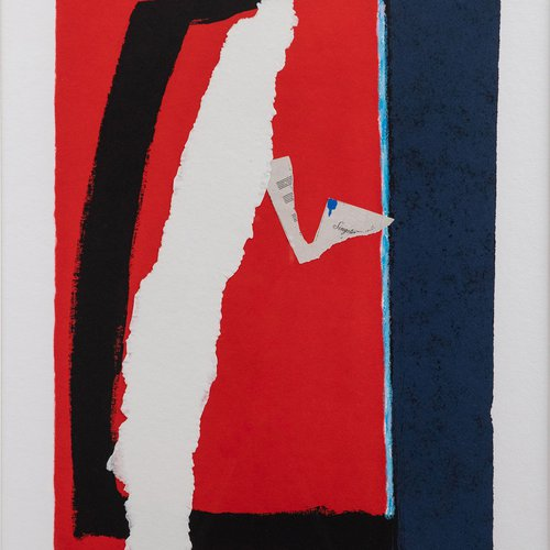 Robert Motherwell, Game of Chance, 1987. Lithograph & aquatint w/ etching on handmade paper with hand-coloring and collage, 23 3/8 x 16 3/8 inches, 29 1/4 x 31 1/2 inches framed. Edition 93/100. Value: $10,500.