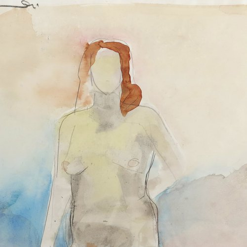 Manuel Neri (Alum 1956), Ink Figure Study VI, 1971. Water based pigment and graphite on paper, 12 x 18 inches, 28 ½ x 33 inches framed. Value: $20,000.