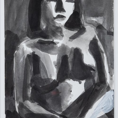 Terry St. John (MFA Painting 1966), Thai Model #1, 2019. Ink and pen on paper, 22 x 15 inches, 30 x 22 ¾ inches framed. Value: $9,500.