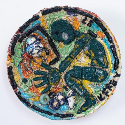 Viola Frey (BFA Ceramics 1956), Untitled, 1987. Ceramic, 26 x 26 inches. Value: $25,000.