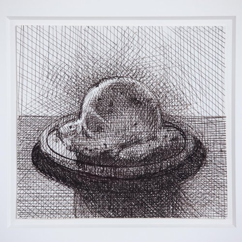 Wayne Thiebaud, Dessert Scoop, 1984. Pen and ink on paper, 6 7/8 x 7 1/2 inches, 16 1/4 x 16 3/4 inches framed. Value: $75,000.
