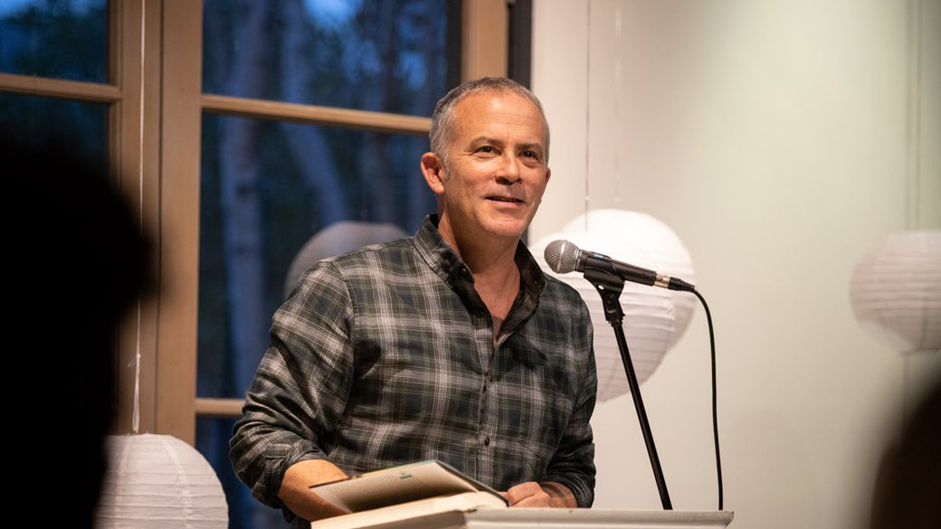 Tom Barbash speaking at Tuesday Talks in the MFA Writing Studio