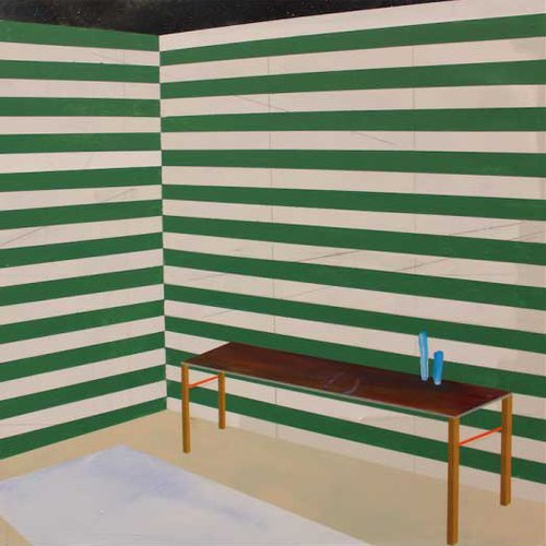 Interior with table and carpet with op-art effects.
