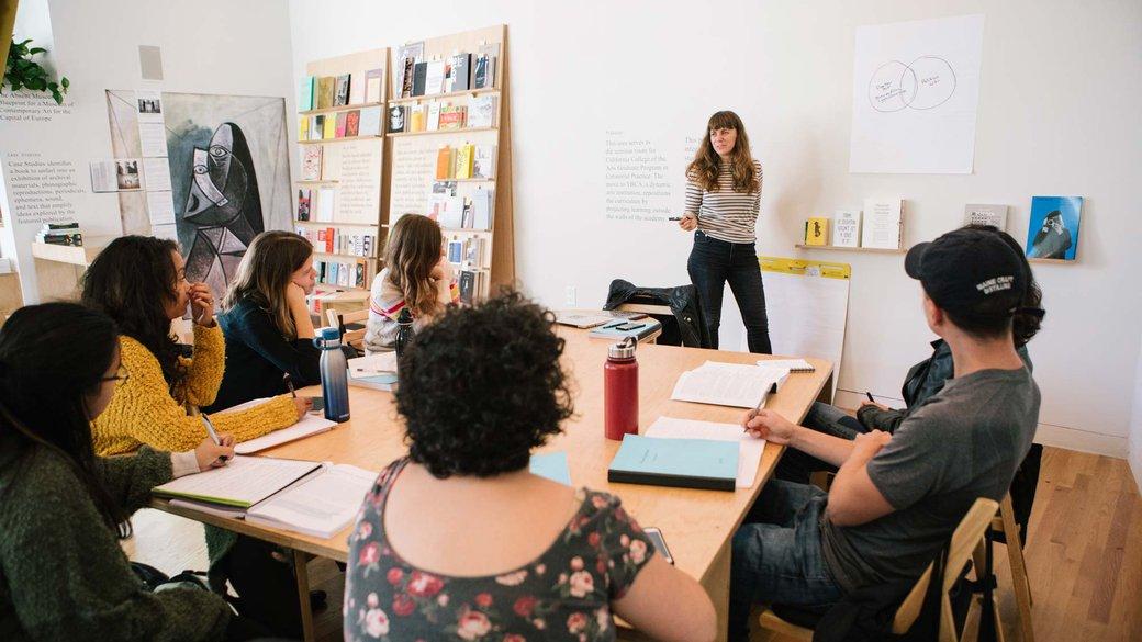 Graduate students during class in CCA's Curatorial Research Bureau_hero_graduate admission_MB