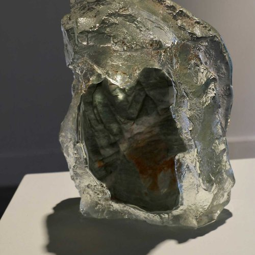 Glass and stone sculpture by Katie Meeker.