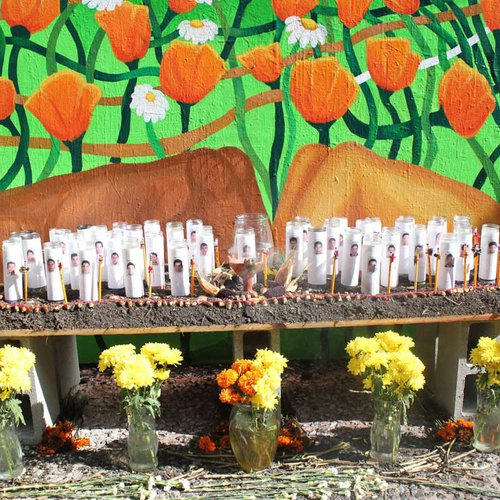 """Altar for the Ayotzinapa 43"" (altar view) by Laila Espinoza - (Community Arts 2017)"