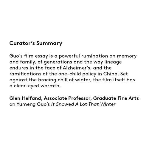 Curator's summary: Yumeng Guo.