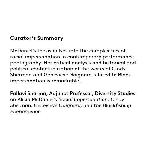 Curator's summary: Alicia McDaniel.