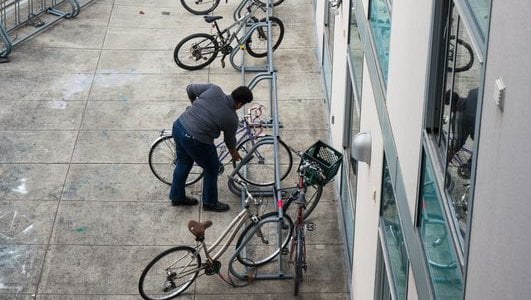 Student getting their bike