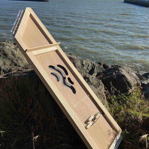 Kate Greenberg (BFA Furniture 2020), Lupini Harp, 2020. 60 x 16 x 2 inches, wood (poplar, plywood, scrap wood), steel strings, tuning pegs, and electromagnetic pickups.