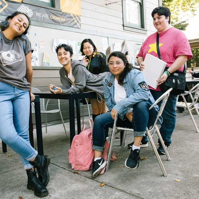 Students hanging out outside Cafe A2