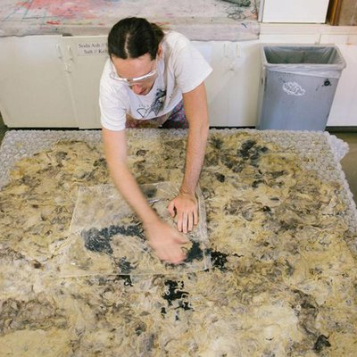 Student working with wool in the Fiber Sculpture Studio_Fiber Sculpture Studio Featuer_1200w_MB