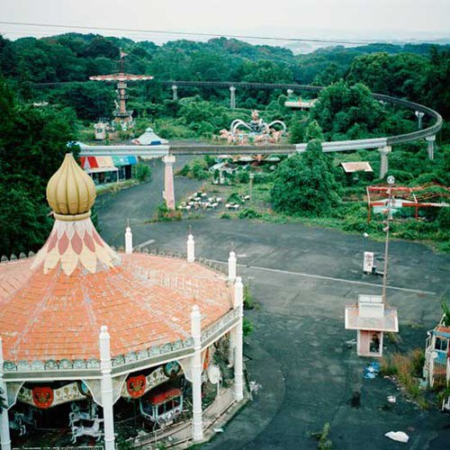 Bird's eye view of an abandoned amusement park.