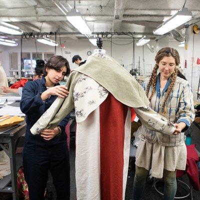 Students working on their fashion textiles