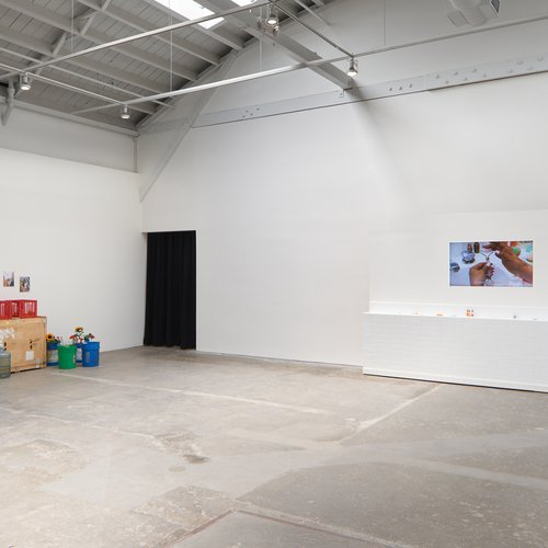 """Curated by CCA's Graduate Program in Curatorial Practice Class of 2021, Leandra Burnett, Katherine Jemima Hamilton, Shaelyn Hanes, Youyou Ma, and Emily Markert., Thesis exhibition: """"Contact Traces,"""" May 9 – June 6, 2021 at the CCA Wattis Institute for Contemporary Arts, Featuring works by Derya Akay, Lenka Clayton, LaToya Ruby Frazier, Ilana Harris-Babou, and Jenny Kendler."""