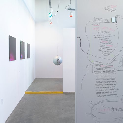 """Fiona Ball, Naz Cuguoglu, Yomna Osman, Orly Vermes., Exhibition: """"DISCODAZE // Side A: Look under the ground, glitter is pouring from the ugly holes"""" February 22 - April 26, 2019 at CCA's Hubbell Street Galleries, featuring work by Nicole Fraser-Herron, Jonn Herschend, Jaime C. Knight, and Justin Nagle."""