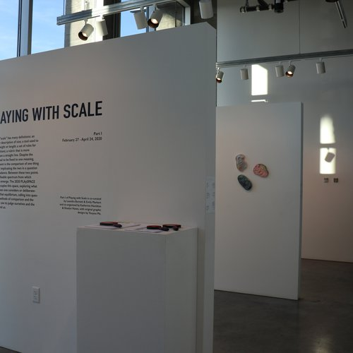 """Leandra Burnett, Katherine Hamilton, Shaelyn Hanes, Youyou Ma, and Emily Markert.., Exhibition: """"Playing with Scale"""" February 27–March 13, 2020 at CCA's Hubbell Street Galleries, featuring work by Enda Carty, Yan Wen Chang, Haley Gewandter, Katie Hector, Hannah Lee, Katie Levinson, Courtney Odell, Ahram Park, Emmaline Payette, John Robert Roy, Ebtihal Shedid, Gerald Wiggins."""