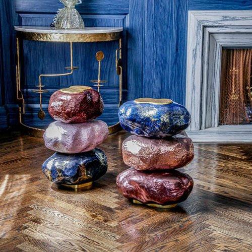 Leslie Podell, Rocks Table. polystyrene, resin, steel, wood, gold. Courtesy of the artist.